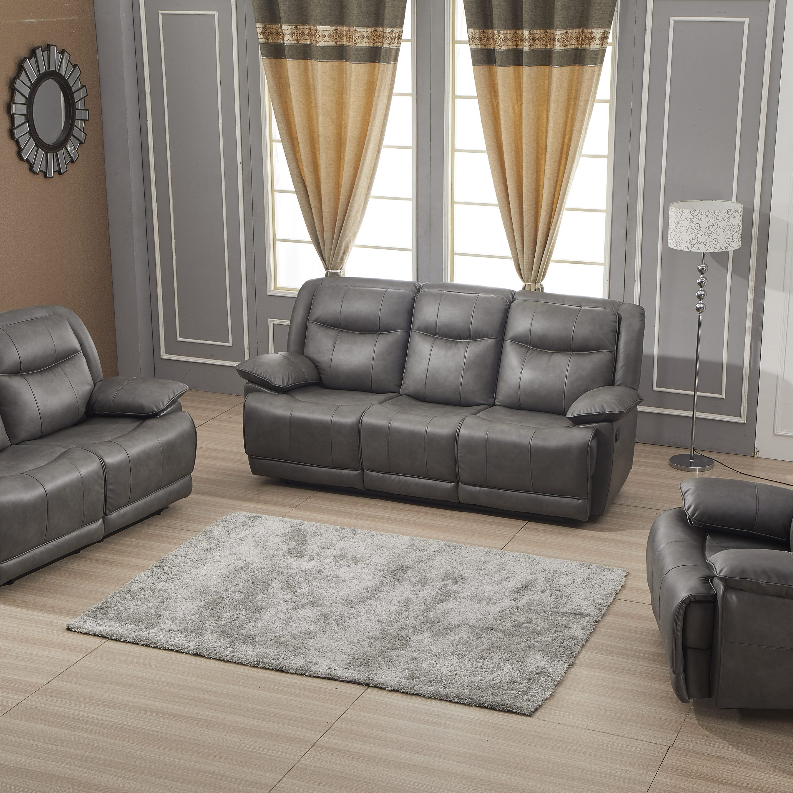 Betsy Furniture Bonded Leather Reclining Sofa Couch Set Throughout Preferred Gray Sofas (View 8 of 20)