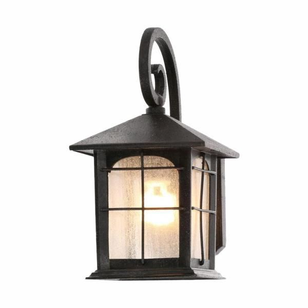 Black Outdoor Seeded Glass Dusk To Dawn Wall Lantern Pertaining To Well Known Brook Black Seeded Glass Outdoor Wall Lanterns With Dusk To Dawn (View 20 of 20)
