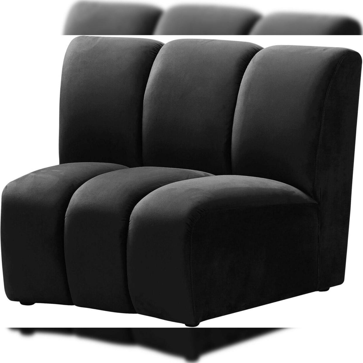 Black Velvet 638black 3pc Modular Sectional Sofa Infinity Pertaining To 2018 3pc French Seamed Sectional Sofas Velvet Black (View 19 of 20)