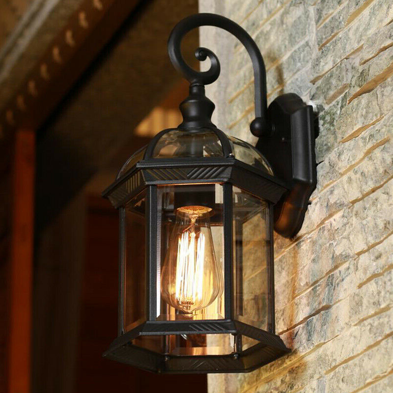 Black Vintage Clear Glass Metal Lantern Curved Arm Outdoor For Trendy Carrington Beveled Glass Outdoor Wall Lanterns (View 2 of 20)