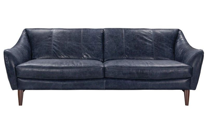 Bloutop Upholstered Sectional Sofas Intended For Well Known Acme Furniture – Mi Piace Yuma Blue Top Grain Leather Sofa (View 19 of 20)
