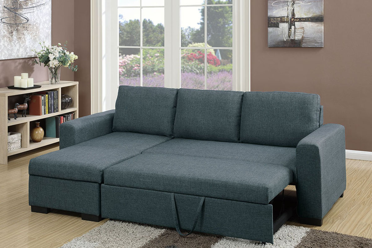 Blue Grey Linen Like Fabric Right Facing Sectional Sofa Adju In Current Polyfiber Linen Fabric Sectional Sofas Dark Gray (View 7 of 20)