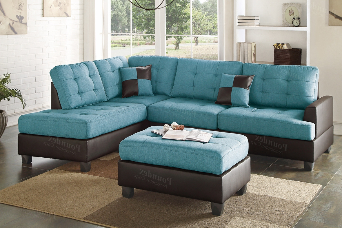 Blue Leather Sectional Sofa And Ottoman – Steal A Sofa Regarding Favorite Noa Sectional Sofas With Ottoman Gray (View 5 of 20)