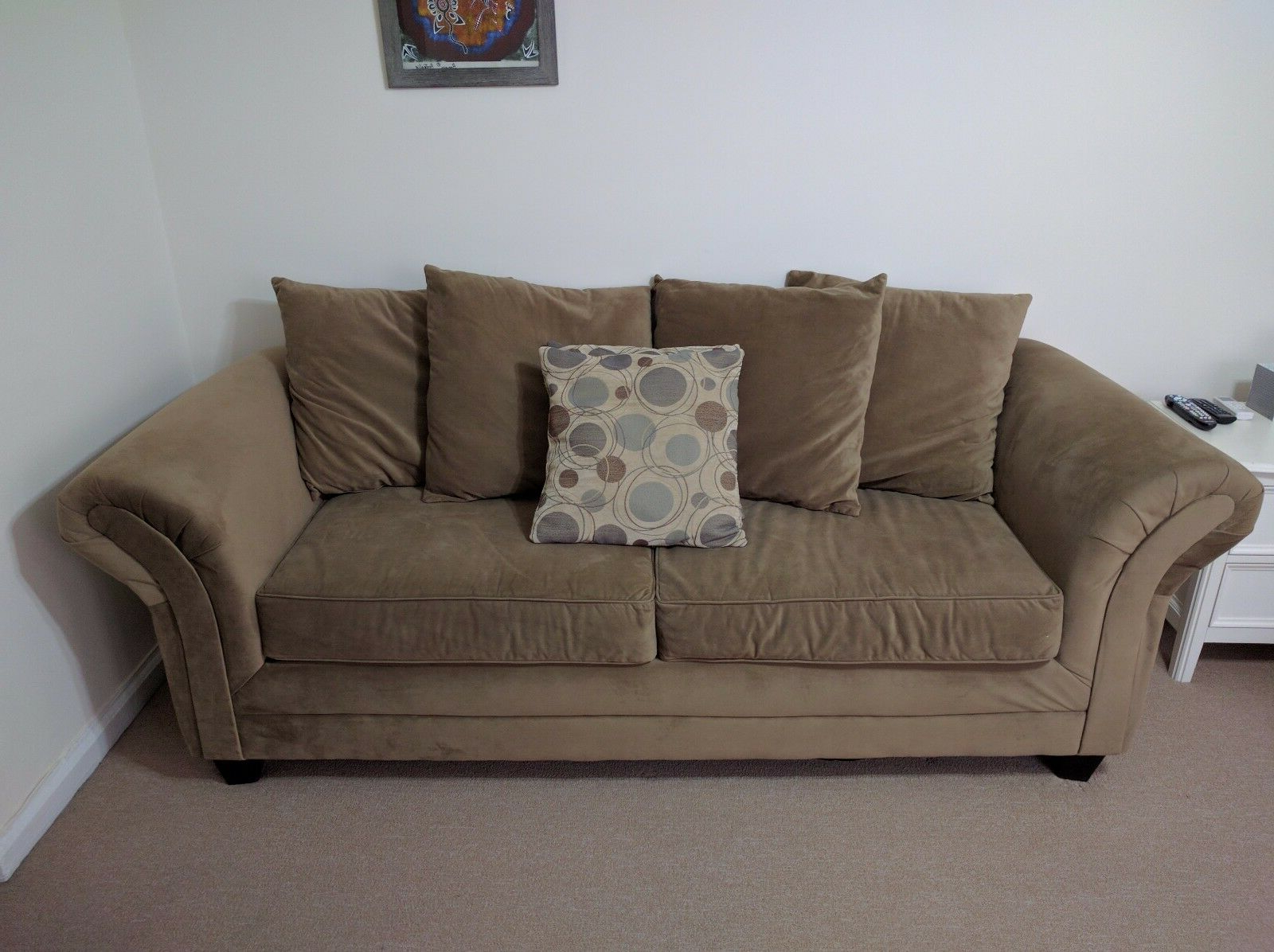 Bob's Discount Furniture: Desert Sand Suede 3 Seater Sofa Pertaining To Most Current Symmetry Fabric Power Reclining Sofas (View 1 of 20)