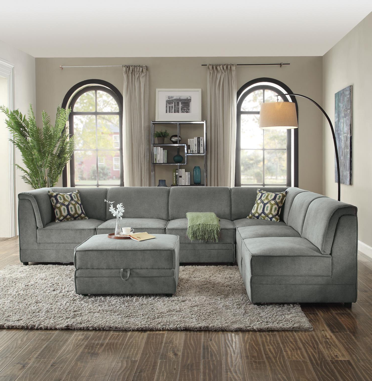 Bois Ii Modular Convertible Sectional Sofa With Ottoman With Preferred Paul Modular Sectional Sofas Blue (View 19 of 20)