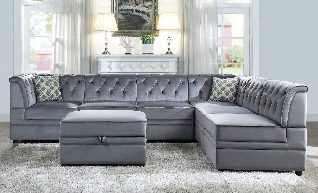 Bois Ii Modular Sectional Sofa 7pc Set 53305 Gray Velvet Within Most Recent Strummer Velvet Sectional Sofas (View 2 of 20)