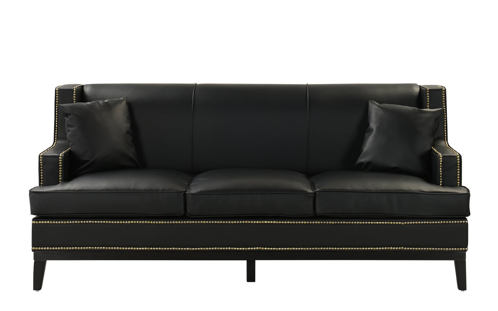 Bonded Leather All In One Sectional Sofas With Ottoman And 2 Pillows Brown Within Popular Black Modern Bonded Leather Sofa With Nailhead Trim Detail (View 14 of 20)