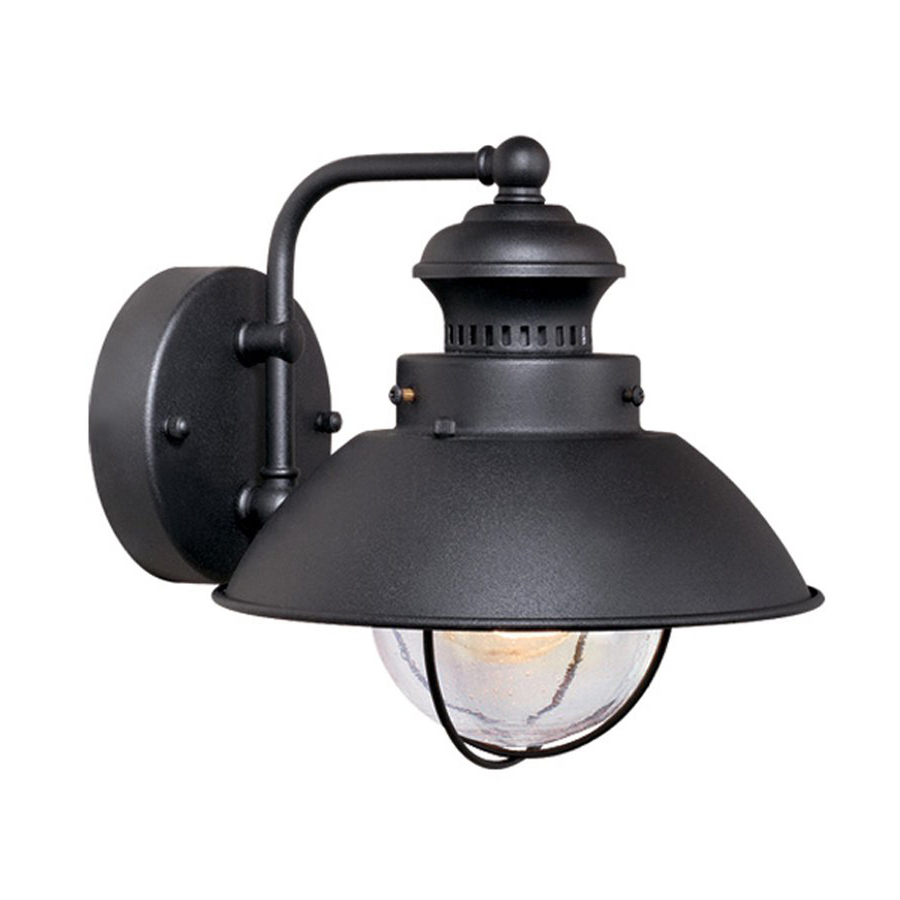 Borde Black Outdoor Wall Lanterns Inside 2019 Shop Cascadia Lighting Nautical 8 In H Textured Black (View 16 of 20)