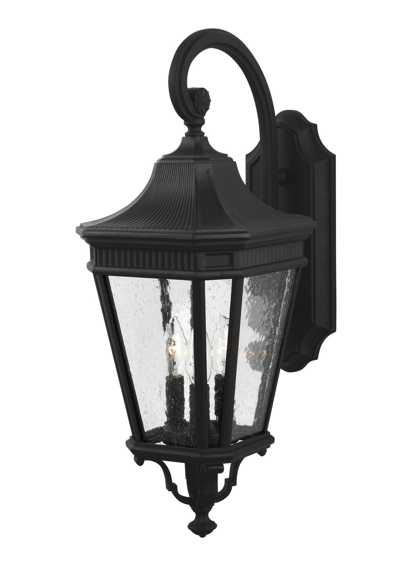 Borde Black Outdoor Wall Lanterns Intended For Recent Feiss Ol5422bk Cotswold Lane 3 – Light Outdoor Wall Lantern (View 5 of 20)