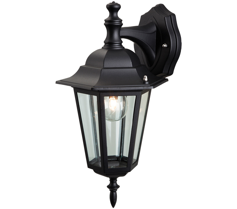 Borde Black Outdoor Wall Lanterns With Regard To Trendy Firstlight 6 Panel Outdoor Downward Wall Lantern, Die Cast (View 3 of 20)
