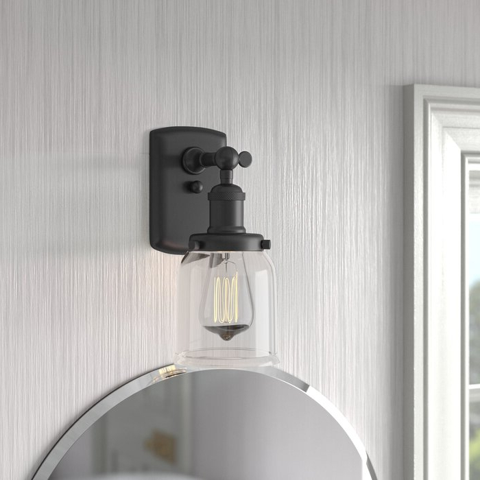 Breakwater Bay Callis 1 – Light Dimmable Armed Sconce For Current Felsted Matte Black 2 – Bulb Outdoor Armed Sconces (View 19 of 20)