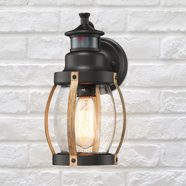 Breakwater Bay Laureano Black/brown 12'' H Seeded Glass In Fashionable Edenfield Water Glass Outdoor Wall Lanterns With Dusk To Dawn (View 17 of 20)