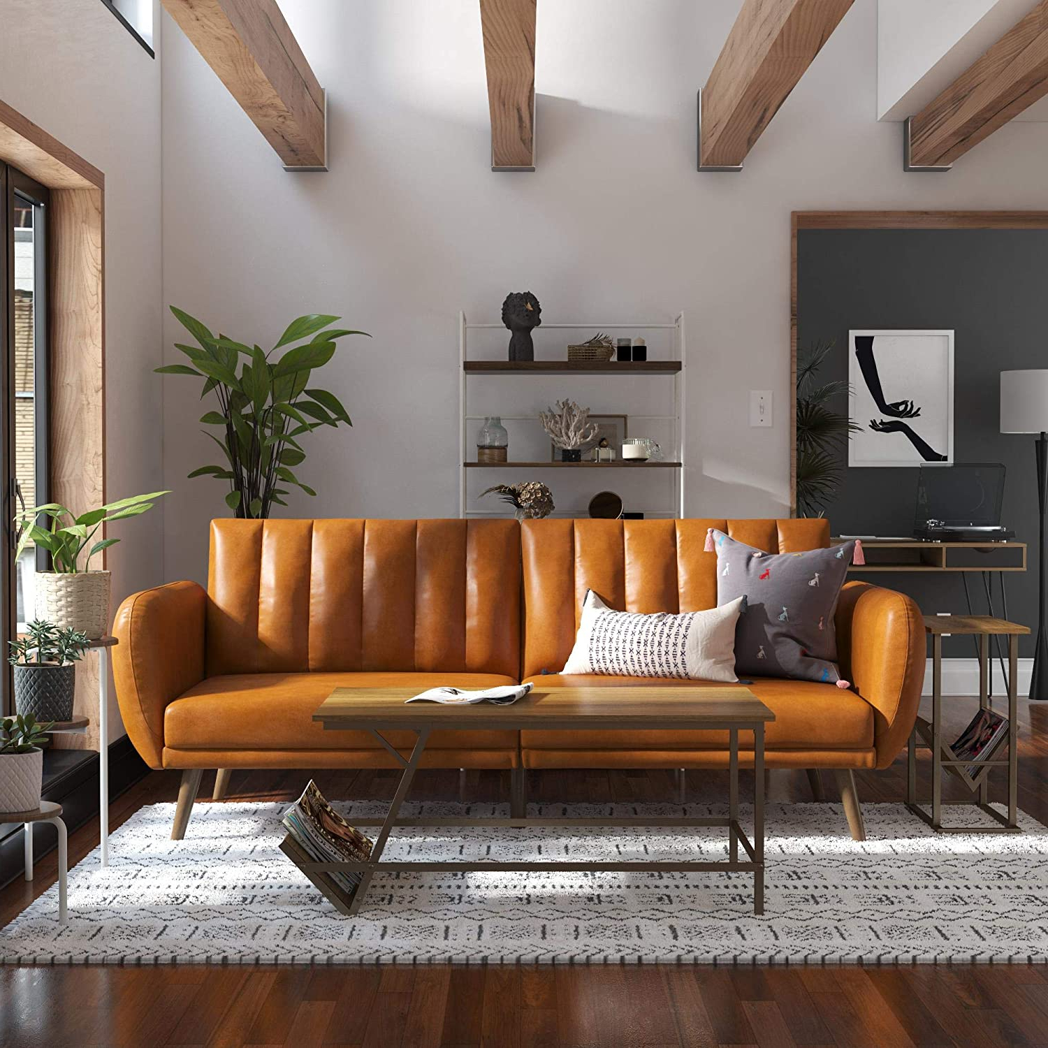 Brittany Sectional Futon Sofas In Preferred Novogratz Brittany Futon, Convertible Sofa & Couch, Camel (View 4 of 20)