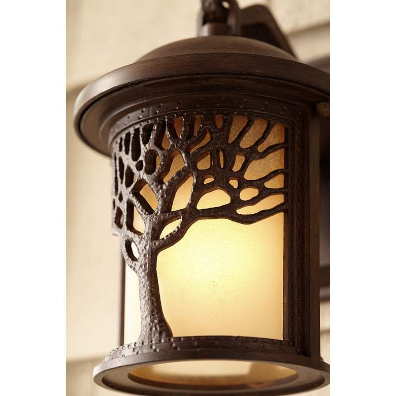 """Bronze Mission Style Tree 9 1/2"""" High Outdoor Wall Light In Favorite Chicopee 2 – Bulb Glass Outdoor Wall Lanterns (View 12 of 20)"""