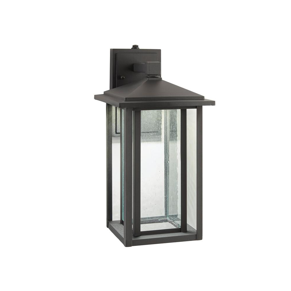Brook Black Seeded Glass Outdoor Wall Lanterns With Dusk To Dawn Intended For Most Popular Home Decorators Collection Mauvo Canyon Collection Black (View 11 of 20)