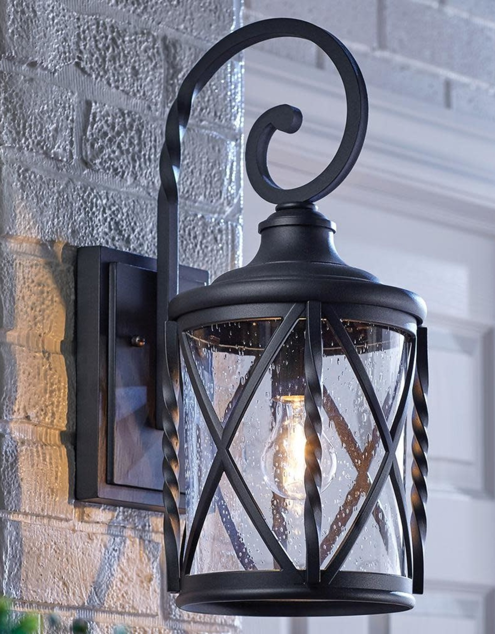 Brook Black Seeded Glass Outdoor Wall Lanterns With Dusk To Dawn Regarding Well Liked 1 Light Black 18.75 In (View 9 of 20)