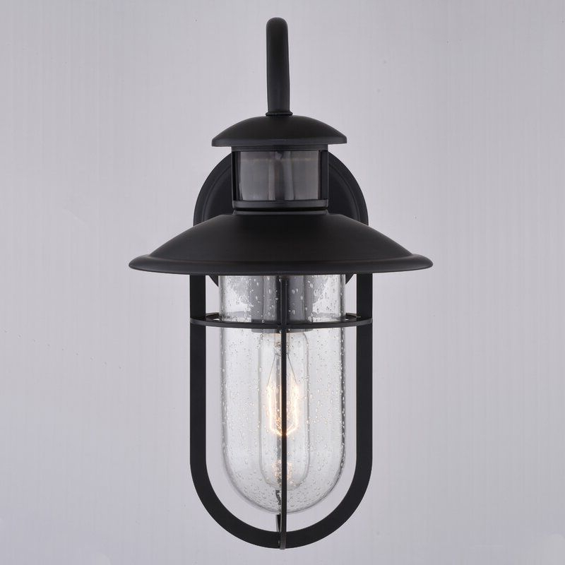Brook Black Seeded Glass Outdoor Wall Lanterns With Dusk To Dawn Throughout 2018 Patil Noble Bronze  (View 13 of 20)
