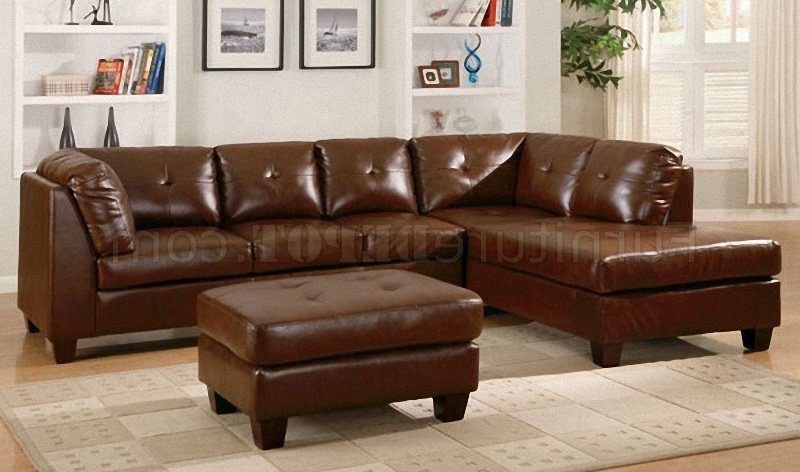 Brown Bonded Leather Modern Sectional Sofa W/tufted Seats Inside Preferred 3pc Bonded Leather Upholstered Wooden Sectional Sofas Brown (View 3 of 20)