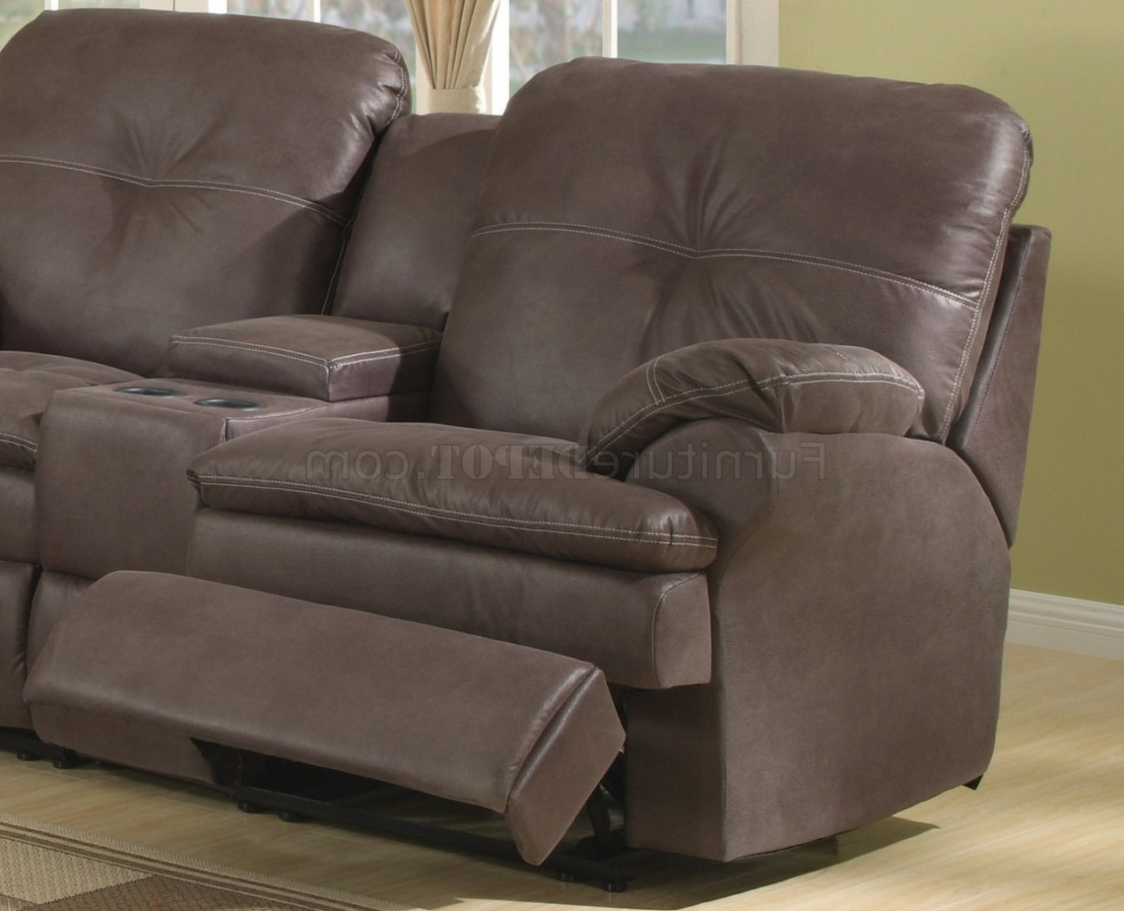 Brown Upgraded Fabric Modern Reclining Sectional Sofa With Regard To Famous Mireille Modern And Contemporary Fabric Upholstered Sectional Sofas (View 18 of 20)
