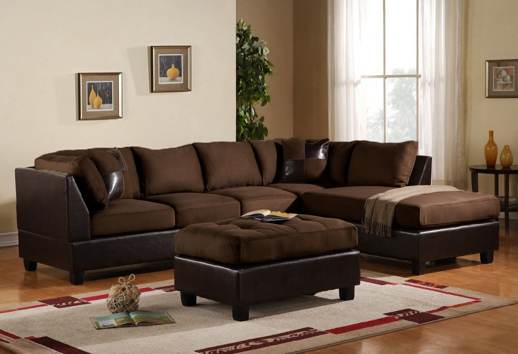 Buy 3 Piece Modern Microfiber Faux Leather Sectional Sofa Pertaining To Recent 3pc Faux Leather Sectional Sofas Brown (View 11 of 20)