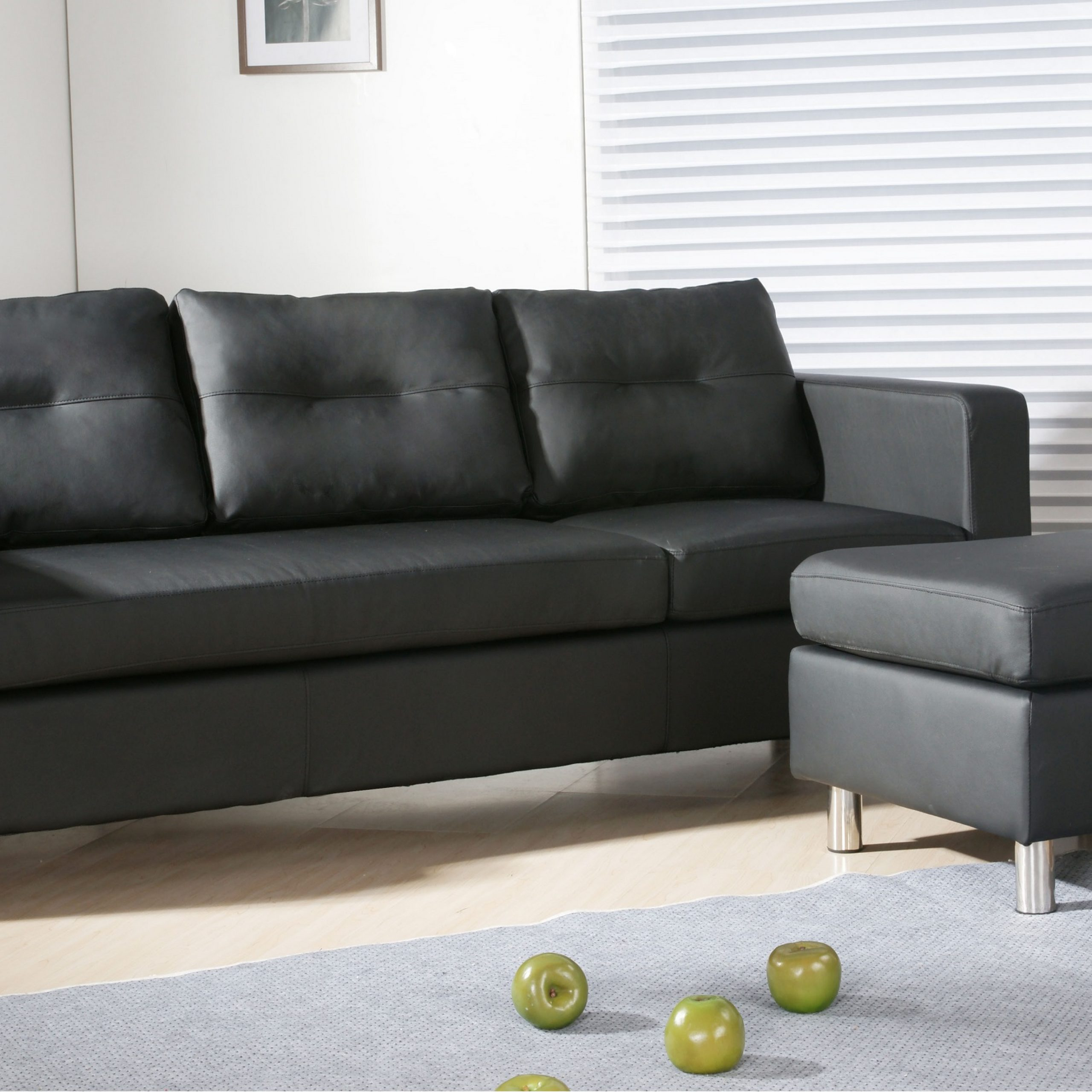 Caius Modern Faux Leather Configurable Left And Right Intended For Current Wynne Contemporary Sectional Sofas Black (View 1 of 20)