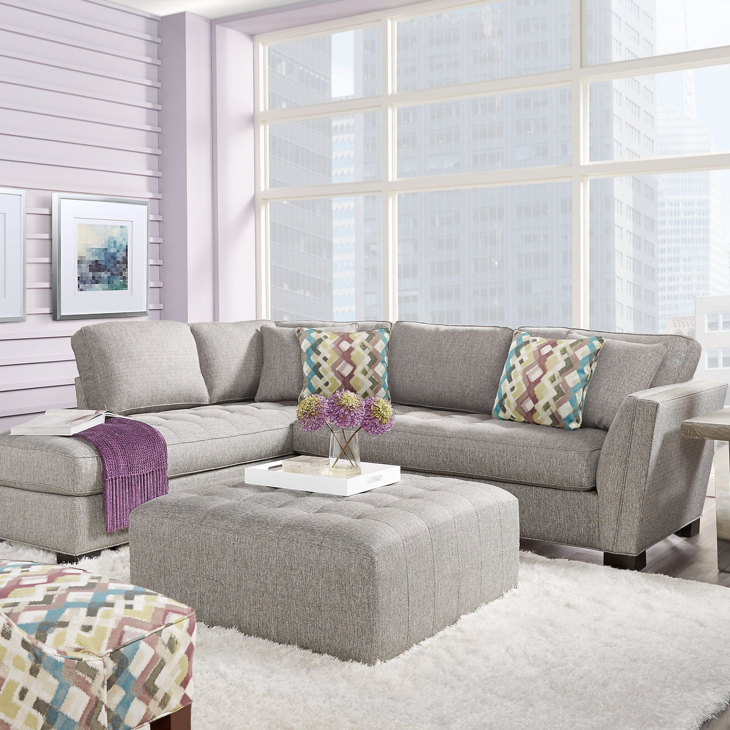 Calvin Concrete Gray Sofas Pertaining To 2018 Cindy Crawford Home Calvin Heights Gray 2 Pc Sectional (View 2 of 20)