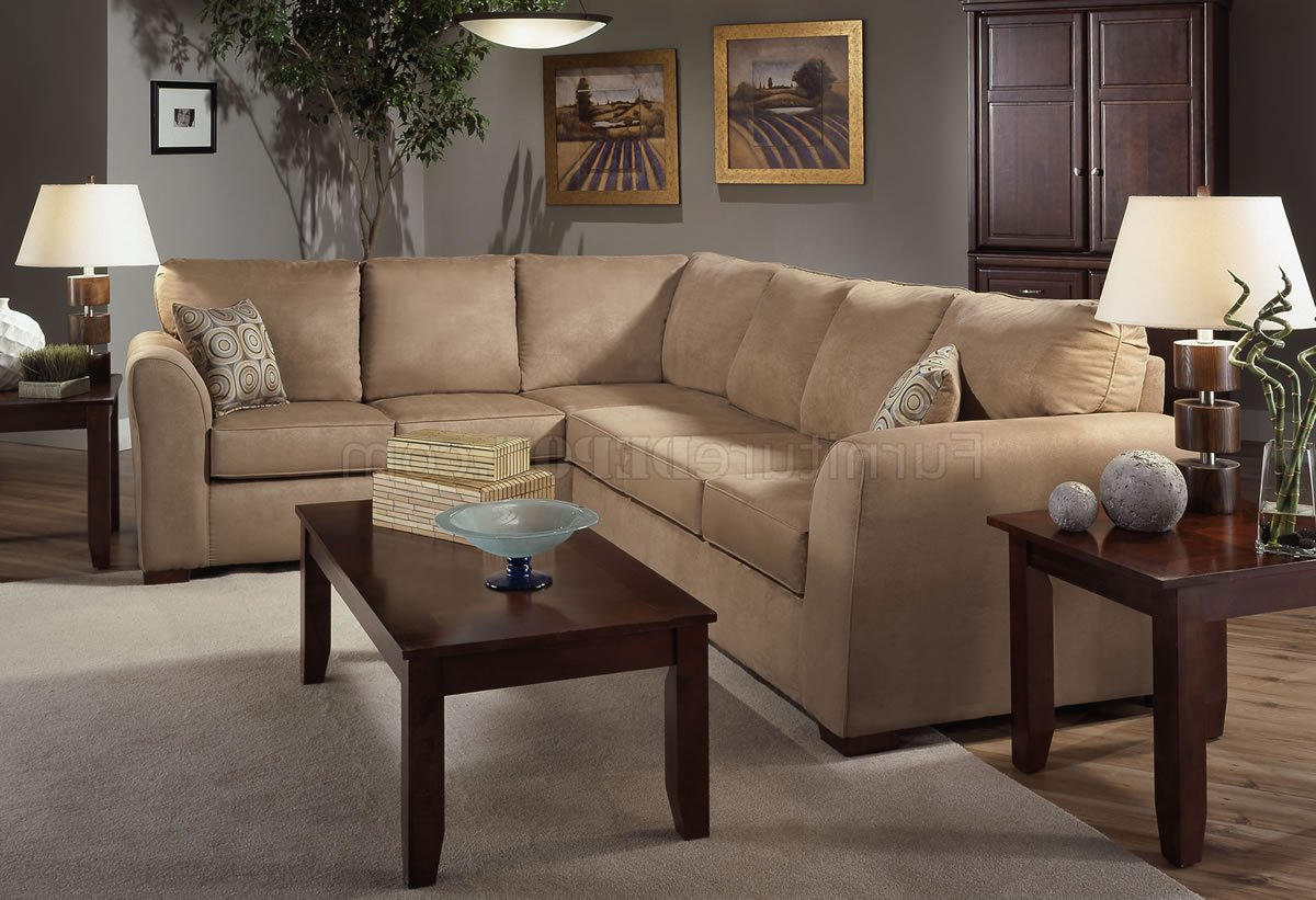 Camel Microfiber Modern Sectional Sofa W/optional Items Throughout Famous 3pc Ledgemere Modern Sectional Sofas (View 2 of 20)