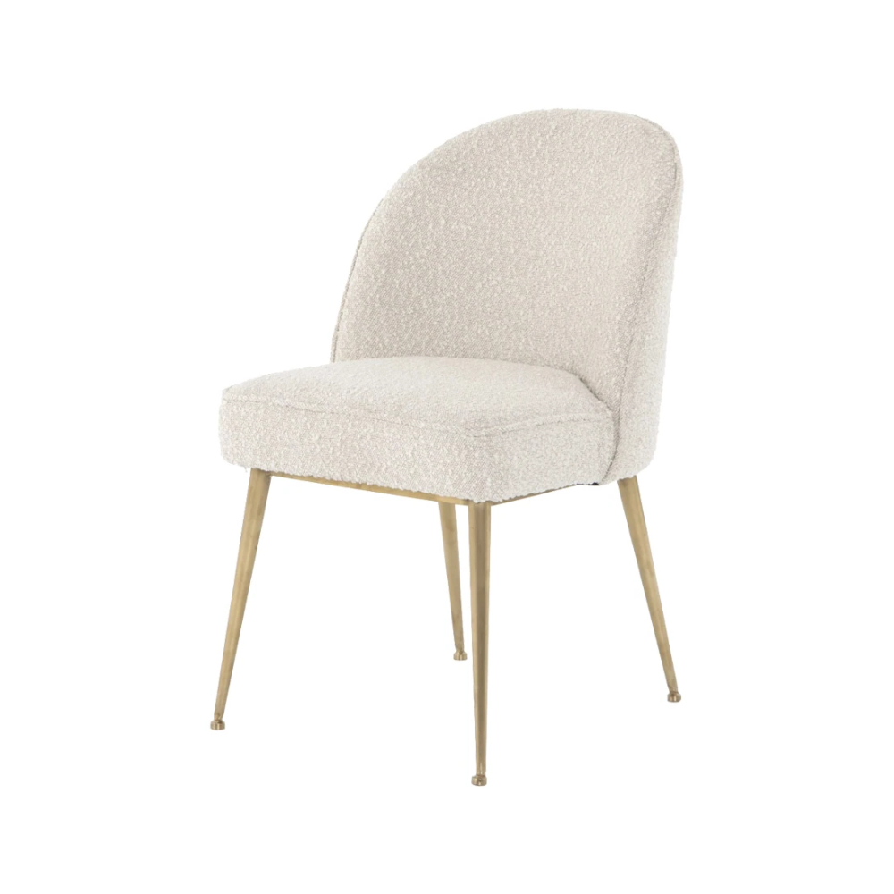 Camila Poly Blend Sectional Sofas Off White Inside Newest Boucle Dining Chair (View 20 of 20)