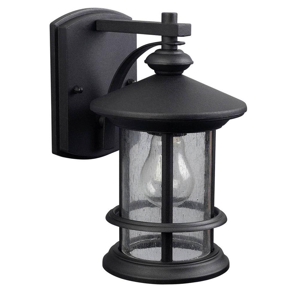 Canarm Ryder 1 Light Black Outdoor Wall Lantern With Within Most Recently Released Anner Seeded Glass Outdoor Wall Lanterns (View 9 of 20)