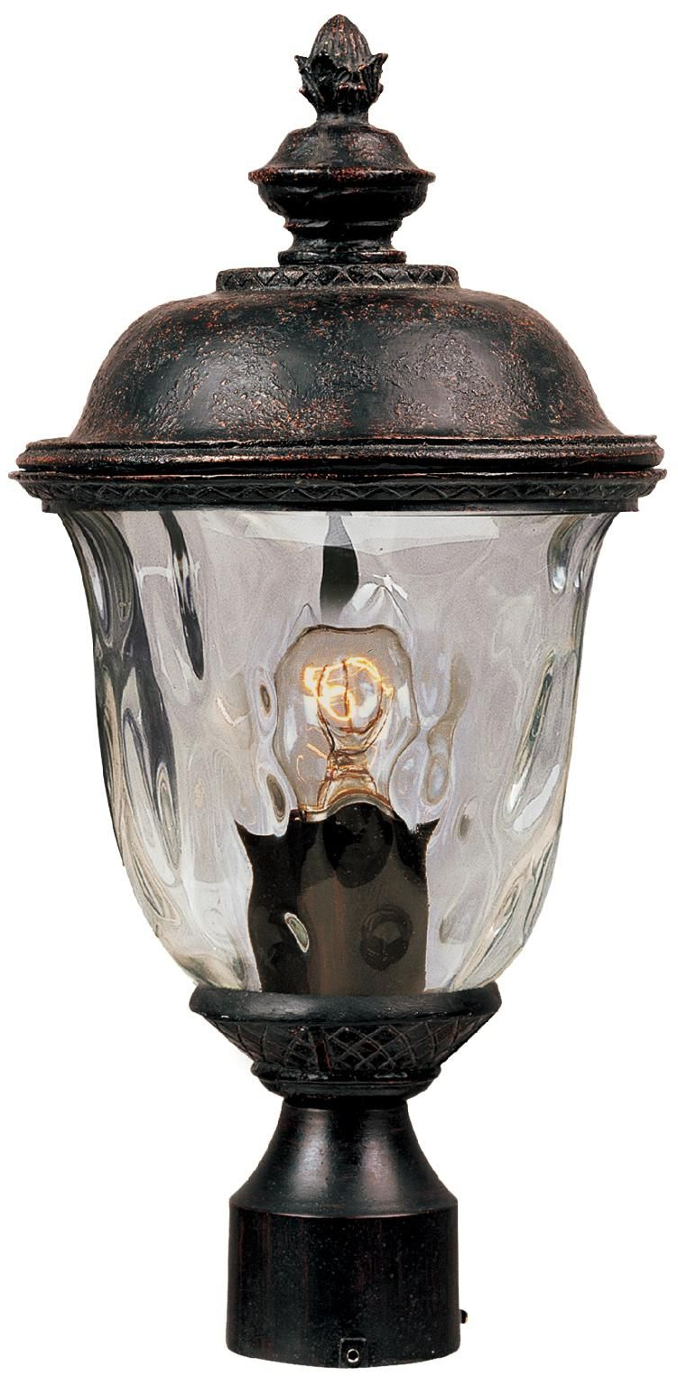 """Carriage House Collection 19 1/2"""" High Outdoor Post Light Inside Most Up To Date Tilley Olde Bronze Water Glass Outdoor Wall Lanterns (View 9 of 20)"""