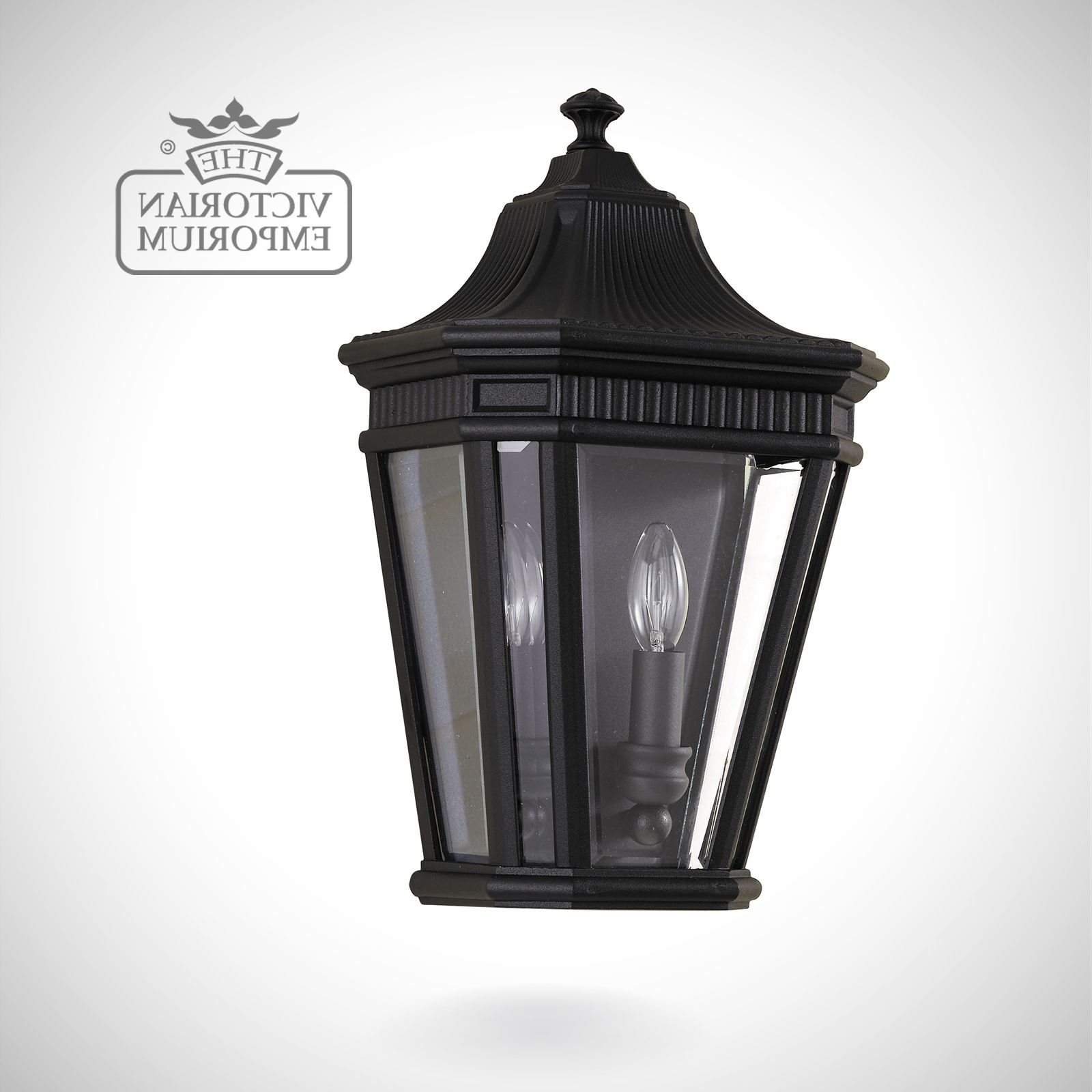 Castellanos Black Outdoor Wall Lanterns In Most Recent Cotswold Half Wall Lantern In Black (View 3 of 20)