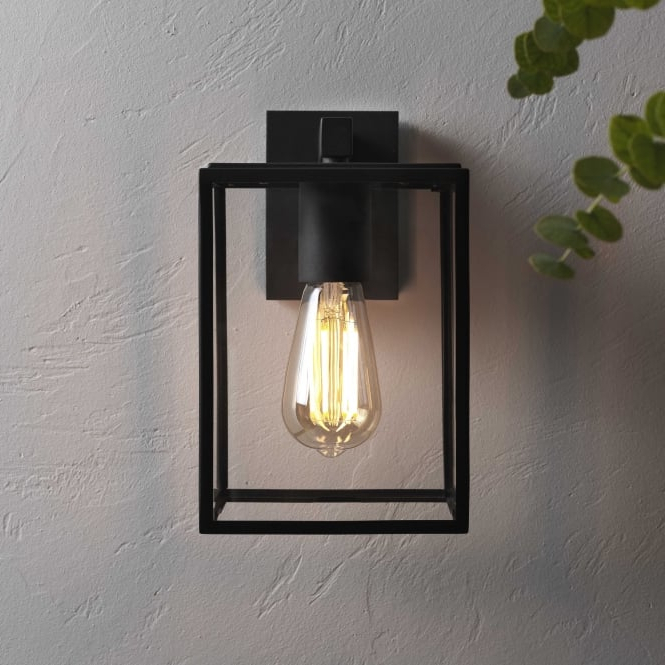 Castellanos Black Outdoor Wall Lanterns Inside Most Current Astro Lighting 7389 Box Black Exterior Wall Light  (View 20 of 20)