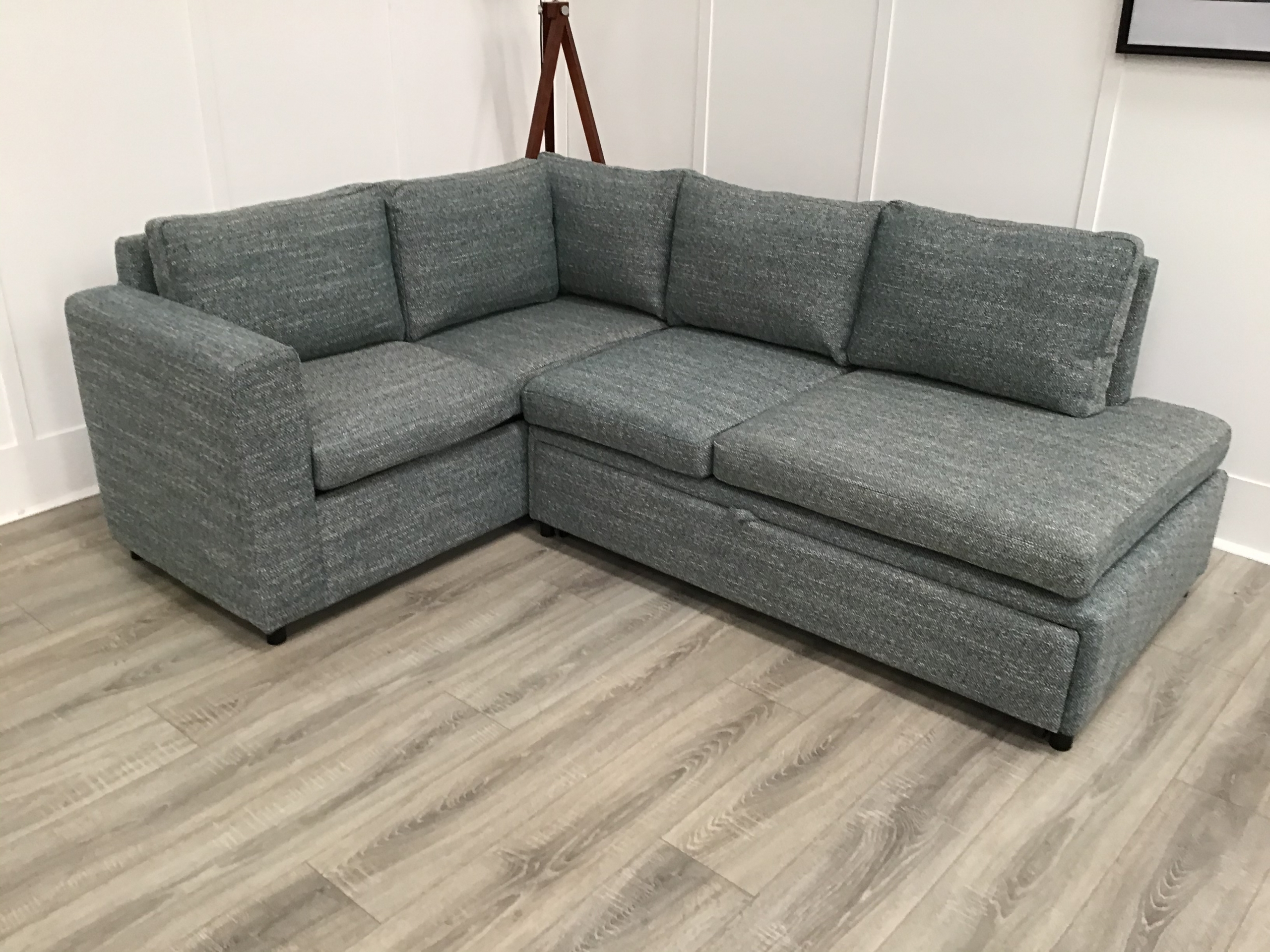 Celine Sectional Futon Sofas With Storage Reclining Couch Inside Current Central Corner Sofa Bed With Storage In Green Fabric (View 1 of 20)