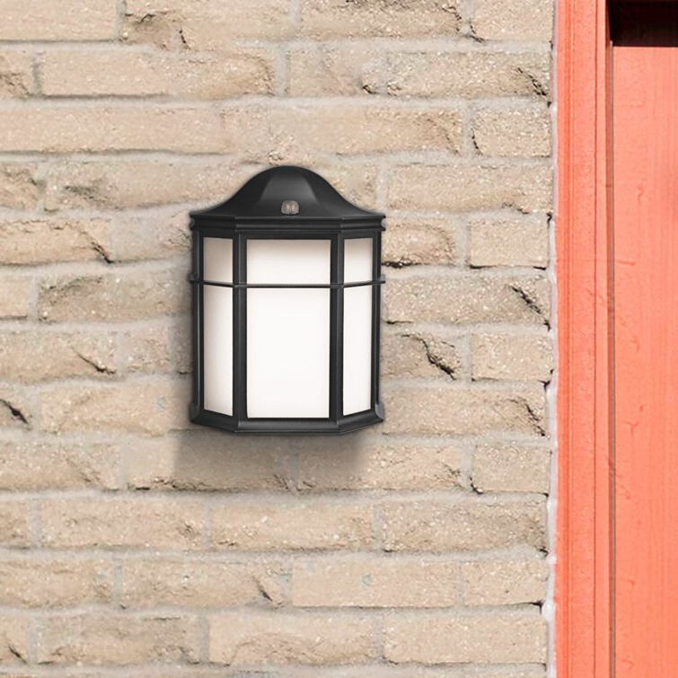 Charlton Home® Mucha Black Integrated Led Glass Outdoor Inside Most Popular Edenfield Water Glass Outdoor Wall Lanterns With Dusk To Dawn (View 16 of 20)