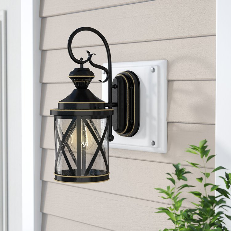 Charlton Home® Vidrio Satin Black/rustic Gold 18'' H With Preferred Brook Black Seeded Glass Outdoor Wall Lanterns With Dusk To Dawn (View 10 of 20)