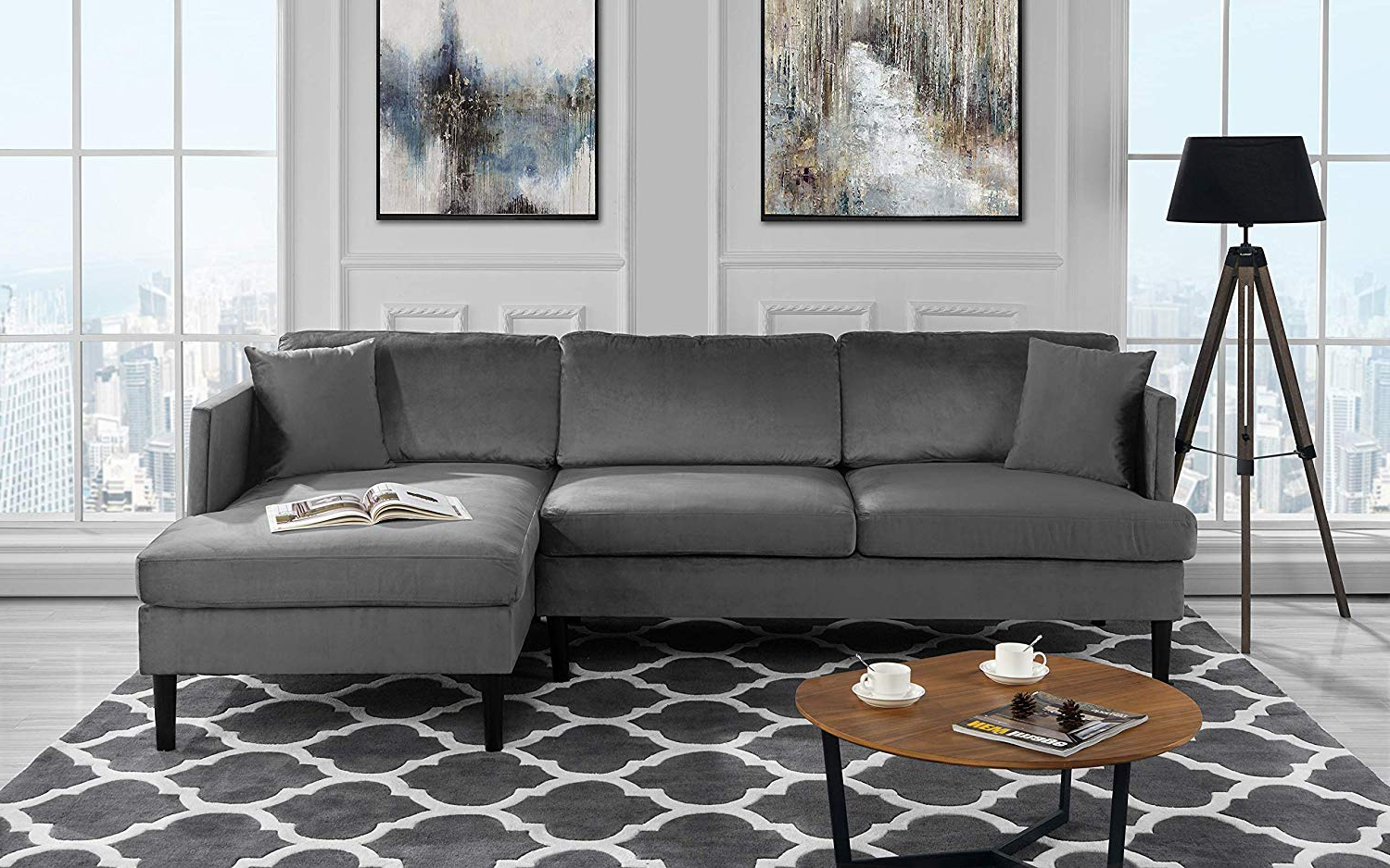 Cheap Grey Couch Sectional, Find Grey Couch Sectional Within Latest Florence Mid Century Modern Velvet Right Sectional Sofas (View 9 of 20)