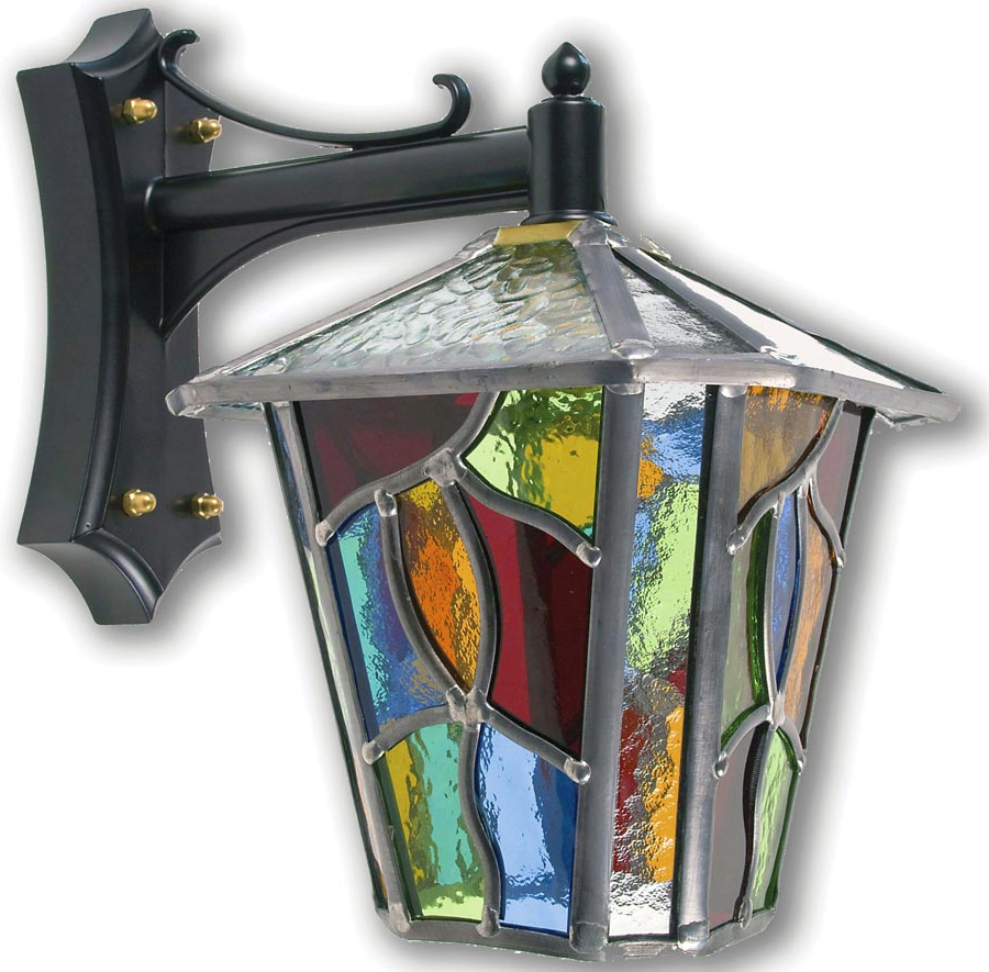 Chepstow Handmade Multi Coloured Leaded Glass Outdoor Wall With Popular Gillian Beveled Glass Outdoor Wall Lanterns (View 17 of 20)