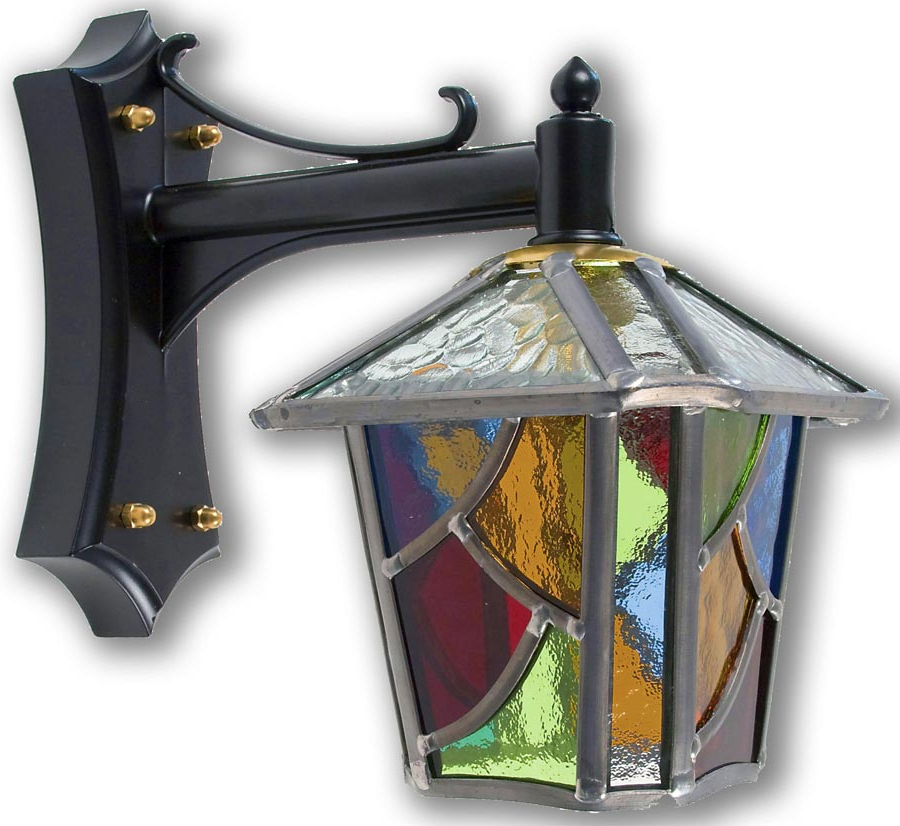 Chepstow Multi Coloured Leaded Glass Mini Outdoor Wall Lantern Intended For Well Known Chicopee Beveled Glass Outdoor Wall Lanterns (View 11 of 20)