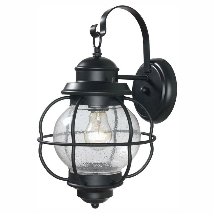 Cherryville Black Seeded Glass Outdoor Wall Lanterns Regarding Well Known Home Decorators Collection Greer 1 Light Black Exterior (View 14 of 20)