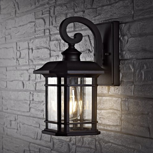 Cherryville Black Seeded Glass Outdoor Wall Lanterns Throughout Newest Charlton Home® Amiens Black 6'' H Seeded Glass Outdoor (View 15 of 20)