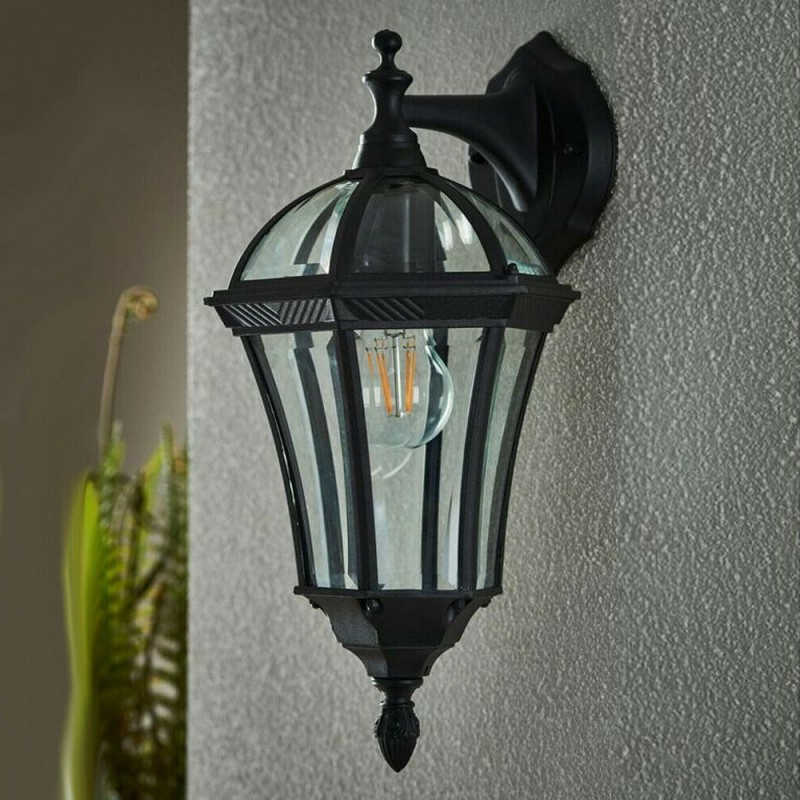 Chicopee 2 – Bulb Glass Outdoor Wall Lanterns Pertaining To Fashionable 2 Pack Ip44 Outdoor Wall Light  Matt Black & Glass Lantern (View 4 of 20)