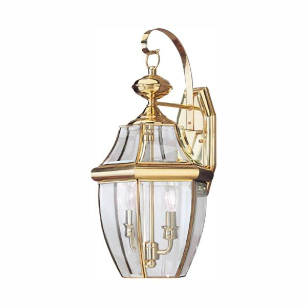 Chicopee 2 – Bulb Glass Outdoor Wall Lanterns With Regard To Most Current Sea Gull Lighting Lancaster 2 Light Polished Brass Outdoor (View 10 of 20)