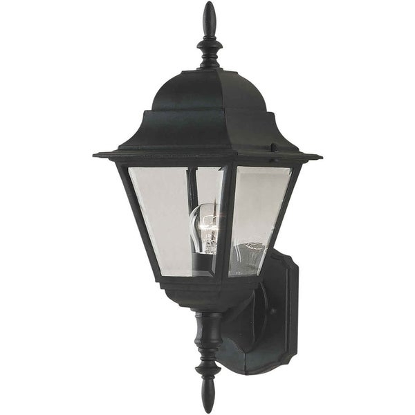 Chicopee Beveled Glass Outdoor Wall Lanterns Regarding Trendy 1 Light Black Outdoor Wall Lantern With Clear Beveled (View 16 of 20)
