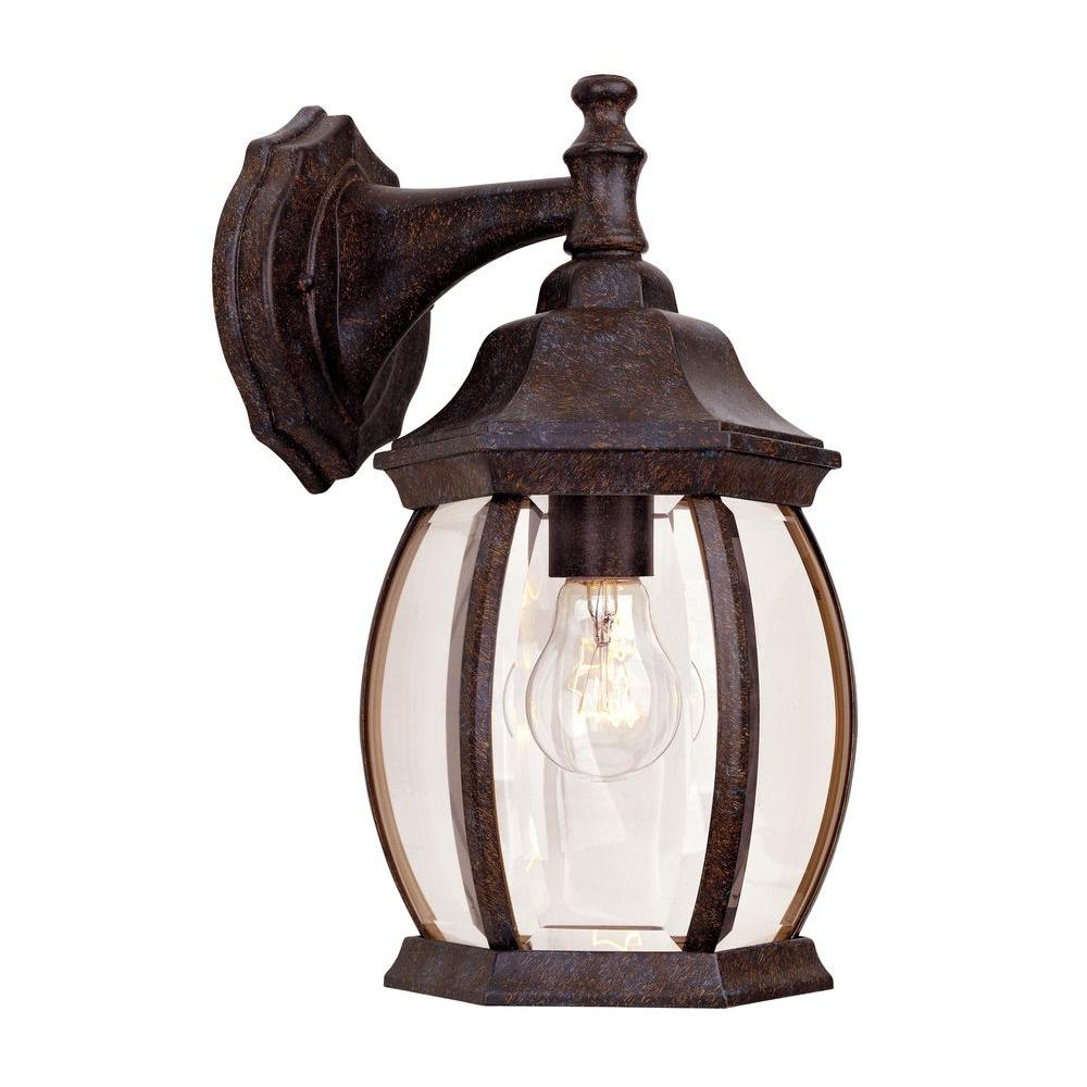 Chicopee Beveled Glass Outdoor Wall Lanterns Within Latest Filament Design 1 Light Rustic Bronze Outdoor Wall Mount (View 9 of 20)