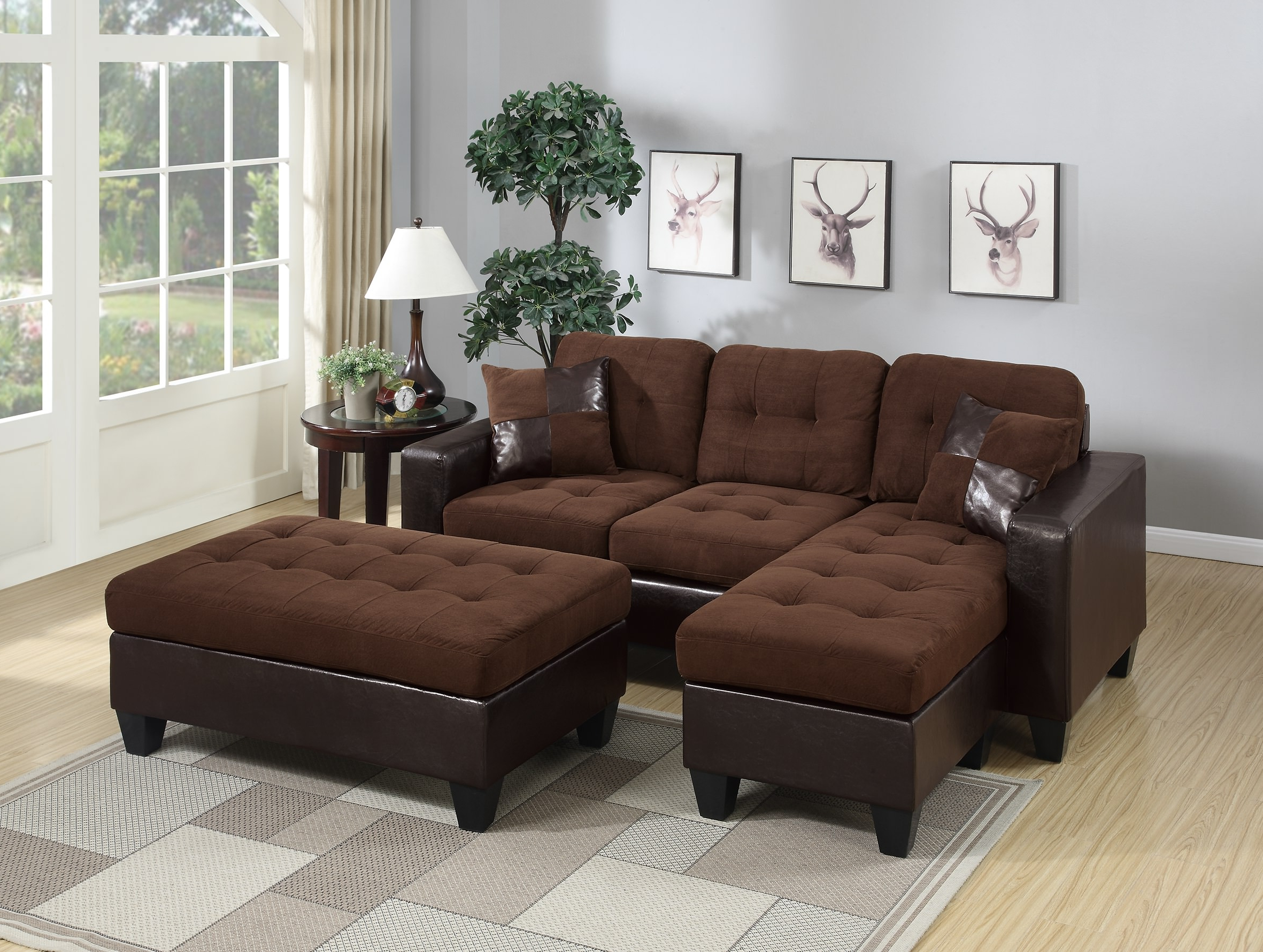 Chocolate Bonded Leather 3pc Reversible L Shaped Sectional Regarding Most Up To Date Hannah Right Sectional Sofas (View 2 of 20)