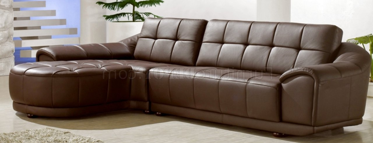 Chocolate Brown Bonded Leather Modern Stylish Sectional Sofa Regarding Most Recent 3pc Bonded Leather Upholstered Wooden Sectional Sofas Brown (View 5 of 20)