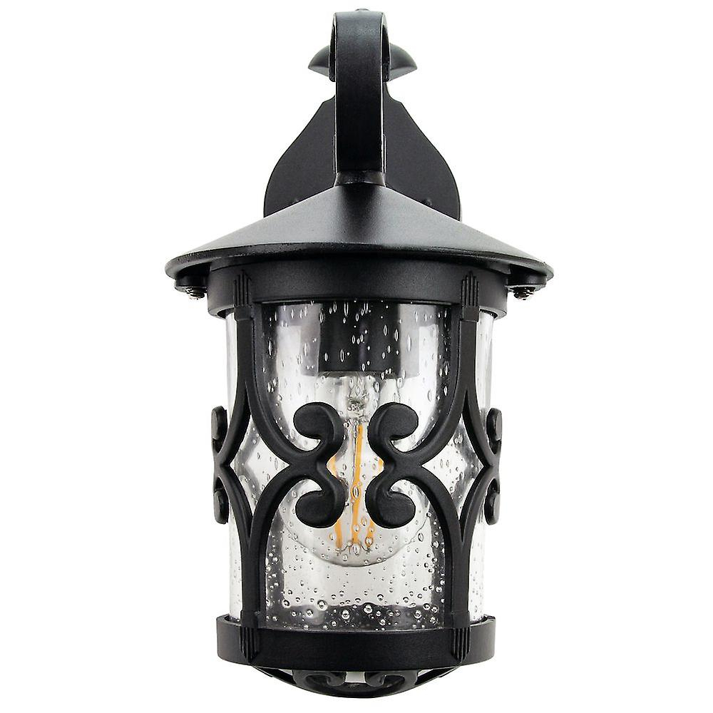Classic Matt Black Lantern Ip44 Outdoor Wall Light With With Fashionable Payeur Hammered Glass Outdoor Wall Lanterns (View 2 of 20)