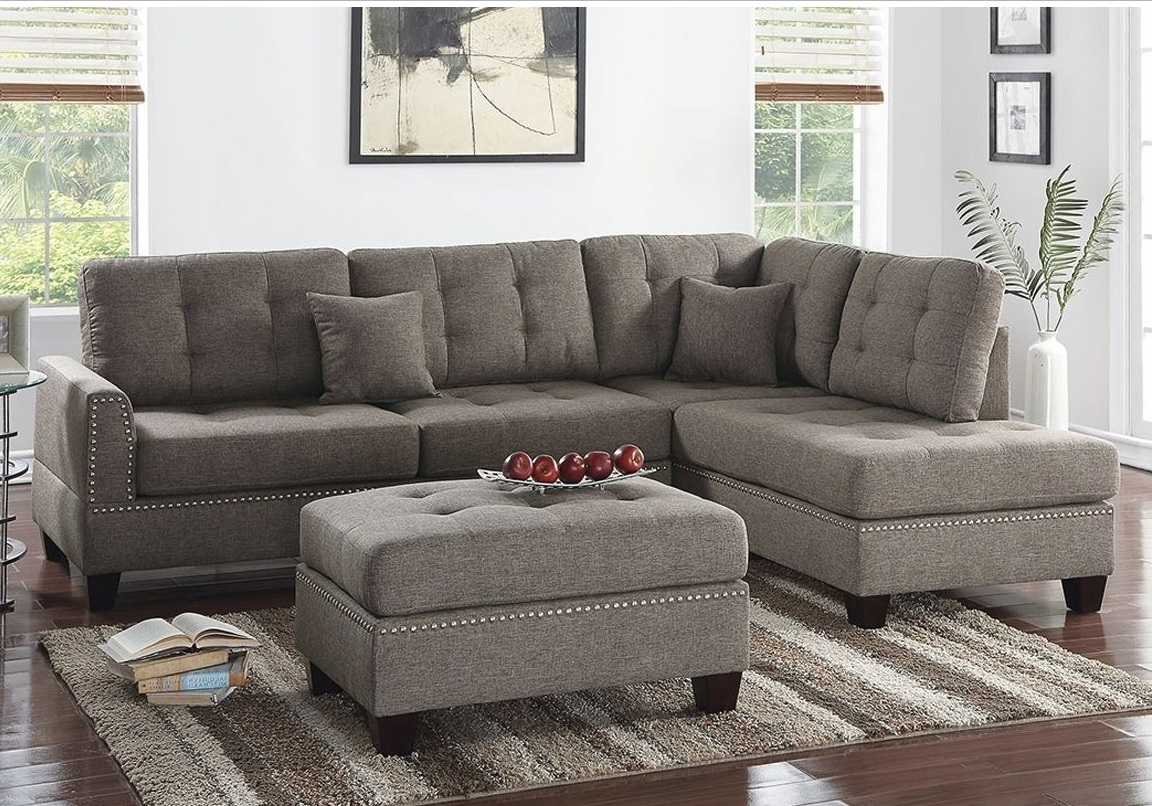 Clifton Reversible Sectional Sofas With Pillows Pertaining To Most Up To Date Reversible 3pcs Sectional Sofa With 2 Accent Pillows F (View 7 of 20)