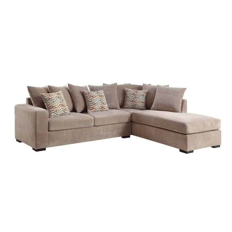 Clifton Reversible Sectional Sofas With Pillows Regarding Most Recently Released Taupe Chenille Reversible Sectional Sofa With Chaise (View 2 of 20)
