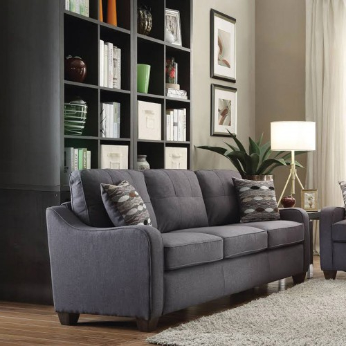 Clifton Reversible Sectional Sofas With Pillows Within Well Known 3 Seats Gray Linen Sectional Sofa Reversible Upholstery  (View 10 of 20)